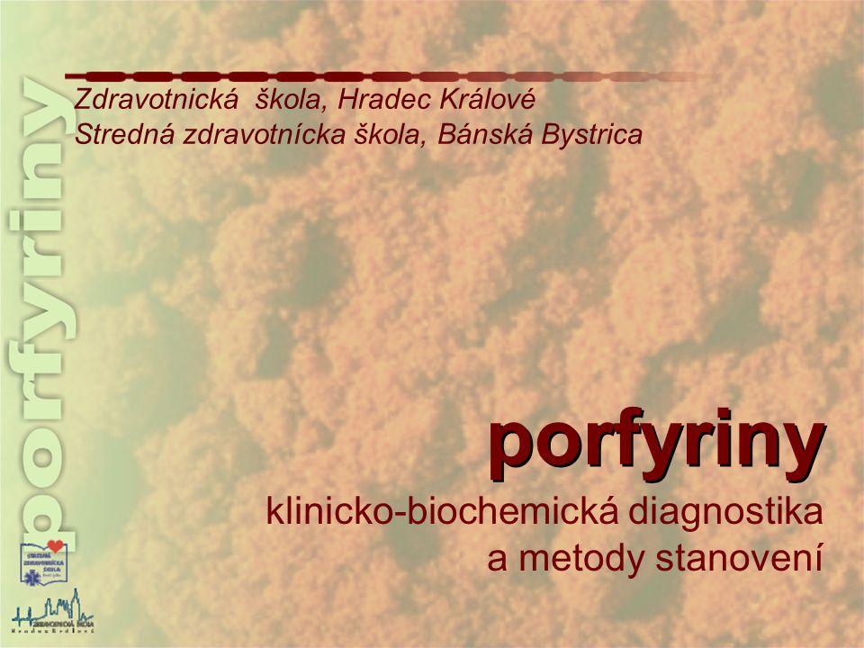 porfyriny - názvosloví, struktura pyrol – 5-členná heterocyklická dusíkatá sloučenina pyrolová barviva biologické pigmenty, obsahují 4 pyrolová jádra spojená 1C můstky, jsou součástí hemoglobinu, myoglobinu, žlučových barviv a vitaminu B12 porfiny cyklické tetrapyroly – 4 jádra spojená methinovými můstky (=CH-)  systém konjugovaných vazeb – tmavě červené zabarvení porfyriny - substituované porfiny (odlišují se substituenty vázanými na postranních řetězcích k pyrolovým jádrům) např.