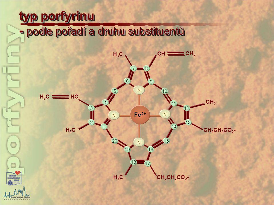H2CH2CHC H3CH3C H3CH3C CH 2 CH 2 CO 2 - CH 3 CH CH 2 H3CH3C 1 2 3 4 5 6 78 9 10 11 12 13 14 15 16 17 19 20 N N N N 18 porfyrin - hem – Fe -protoporfyrin IX - cyklický tetrapyrol konjugovaný systém dvojných vazeb Fe 2+ - vázané uprostřed kruhu koordinačně kovalentními vazbami (koordinační č.6 – tj.6 vazeb -4 x pyrol, 1x protein, 1 x kyslík) Fe 2+ metaloporfyrin