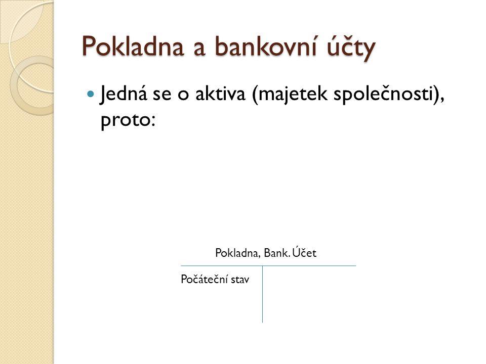 Pokladna a bankovní účty  Jedná se o aktiva (majetek společnosti), proto: Pokladna, Bank. Účet Počáteční stav