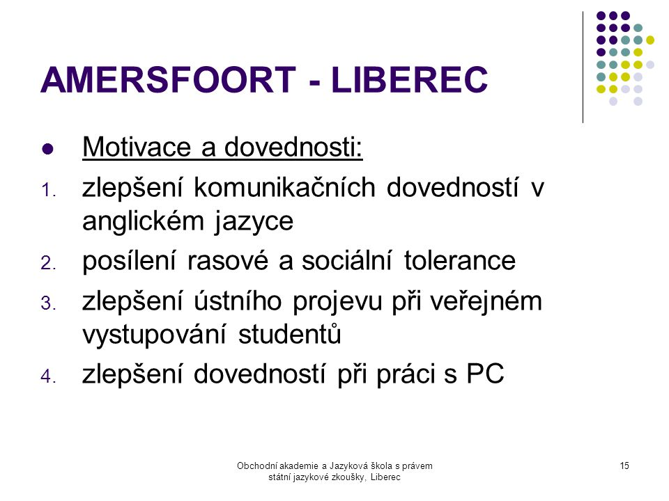 Obchodní akademie a Jazyková škola s právem státní jazykové zkoušky, Liberec 15 AMERSFOORT - LIBEREC  Motivace a dovednosti: 1. zlepšení komunikačníc