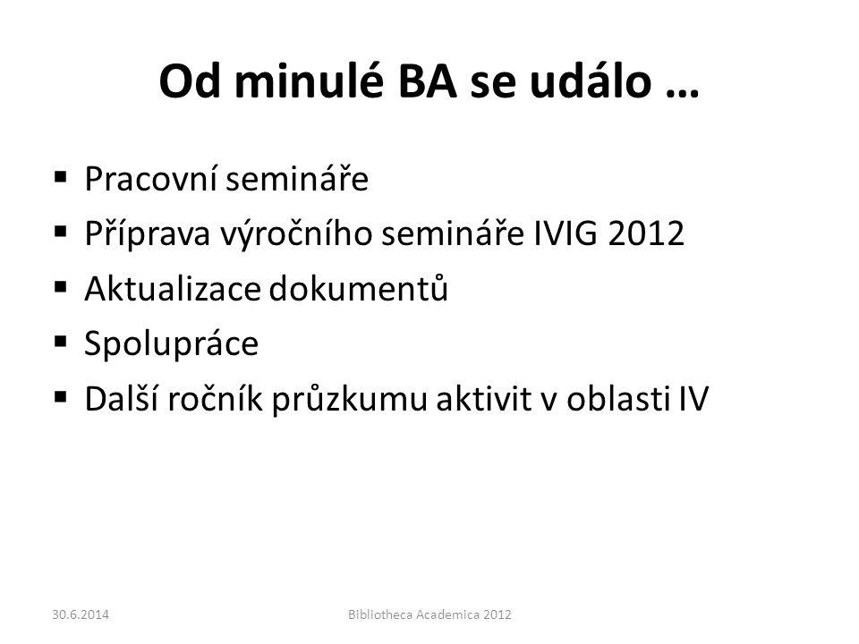 Od minulé BA se událo …  Pracovní semináře  Příprava výročního semináře IVIG 2012  Aktualizace dokumentů  Spolupráce  Další ročník průzkumu aktivit v oblasti IV 30.6.2014Bibliotheca Academica 2012