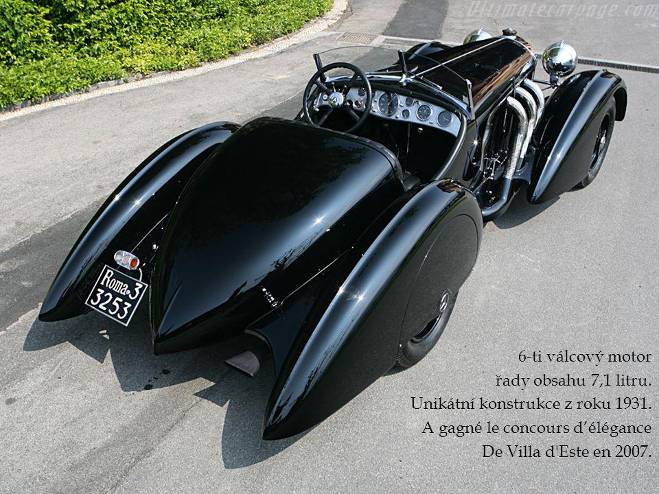 6-ti válcový motor řady obsahu 7,1 litru. Unikátní konstrukce z roku 1931. A gagné le concours d'élégance De Villa d'Este en 2007.