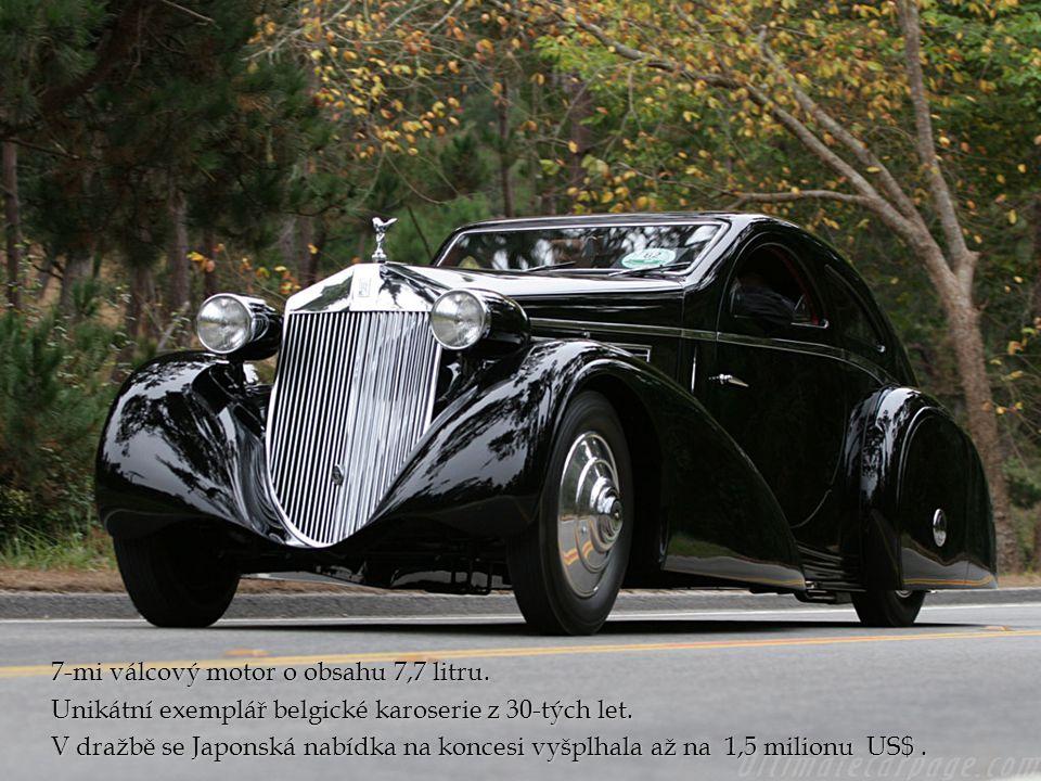 7-mi válcový motor o obsahu 7,7 litru. Unikátní exemplář belgické karoserie z 30-tých let.