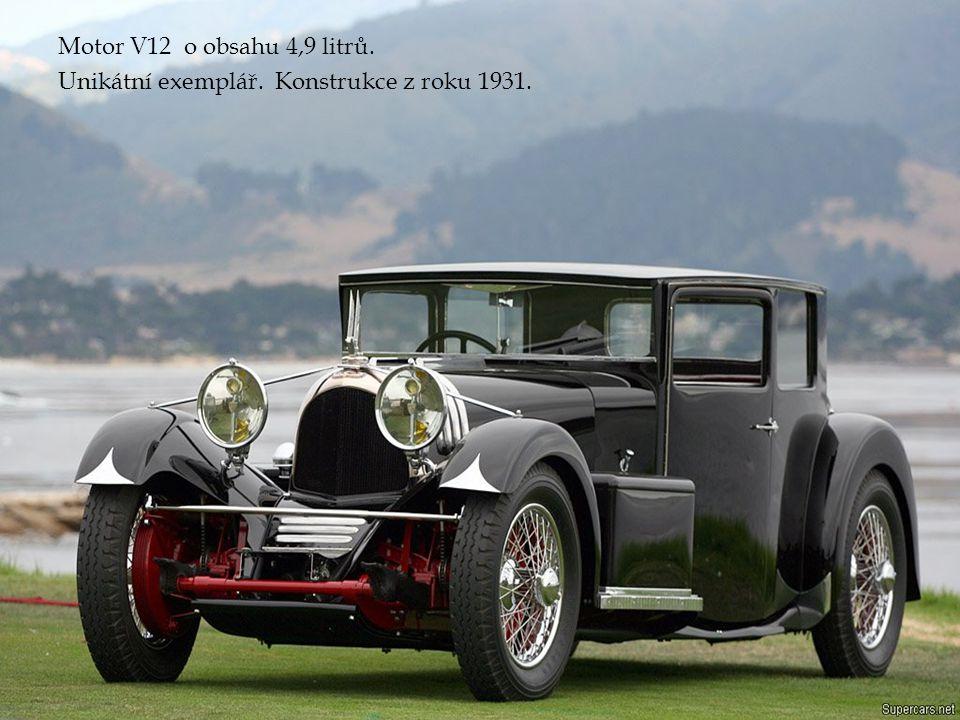 Motor V12 o obsahu 4,9 litrů. Unikátní exemplář. Konstrukce z roku 1931.