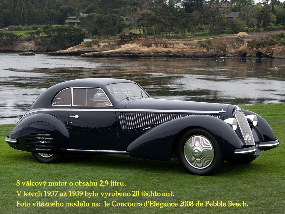 8 válcový motor o obsahu 2,9 litru. V letech 1937 až 1939 bylo vyrobeno 20 těchto aut. Foto vítězného modelu na: le Concours d'Elegance 2008 de Pebble