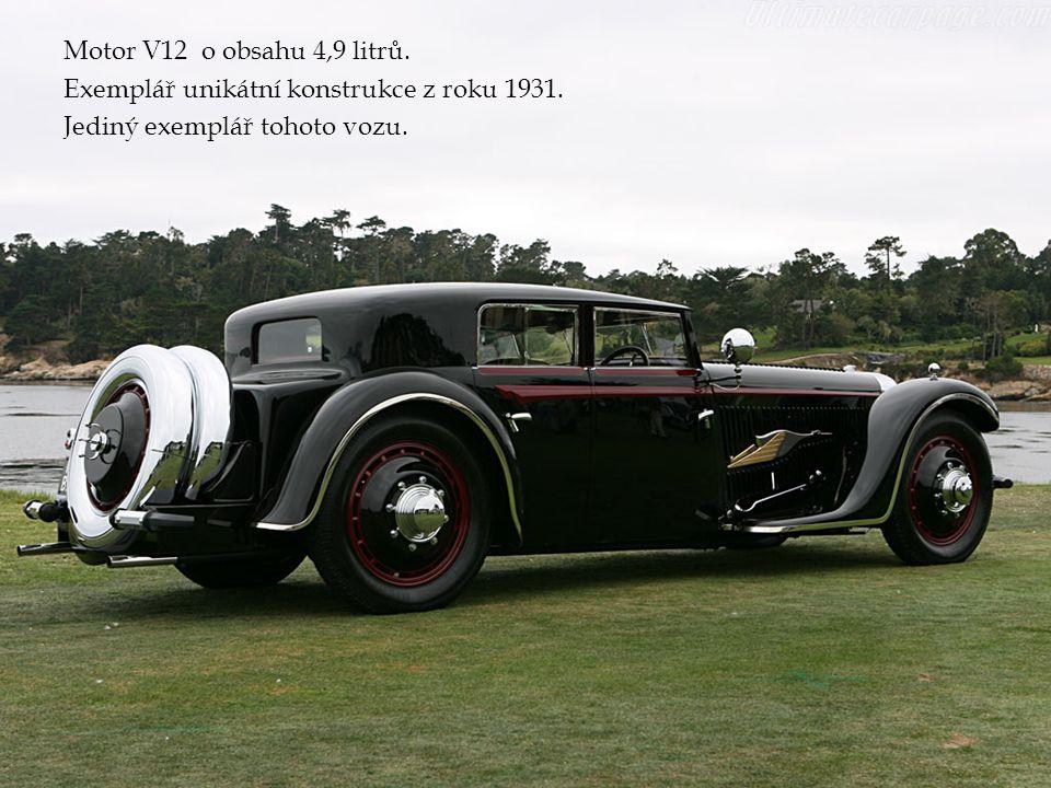 Motor V12 o obsahu 4,9 litrů. Exemplář unikátní konstrukce z roku 1931. Jediný exemplář tohoto vozu.
