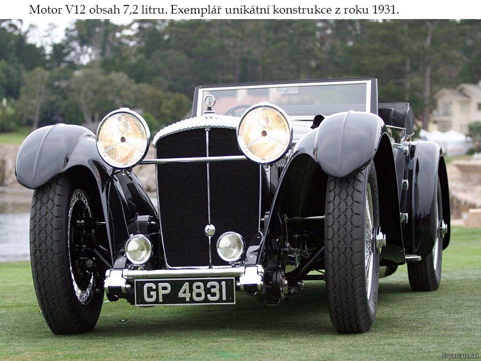 Motor V12 obsah 7,2 litru. Exemplář unikátní konstrukce z roku 1931.