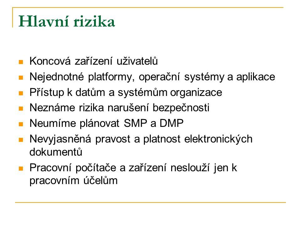 Hlavní rizika  Koncová zařízení uživatelů  Nejednotné platformy, operační systémy a aplikace  Přístup k datům a systémům organizace  Neznáme rizik