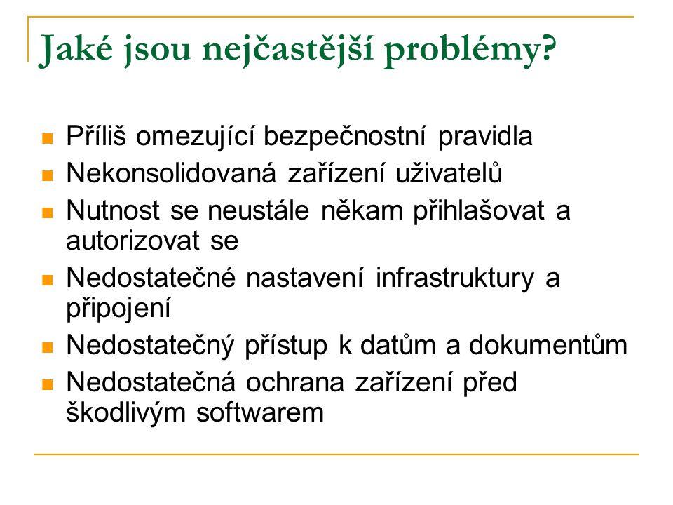 Jaké jsou nejčastější problémy?  Příliš omezující bezpečnostní pravidla  Nekonsolidovaná zařízení uživatelů  Nutnost se neustále někam přihlašovat