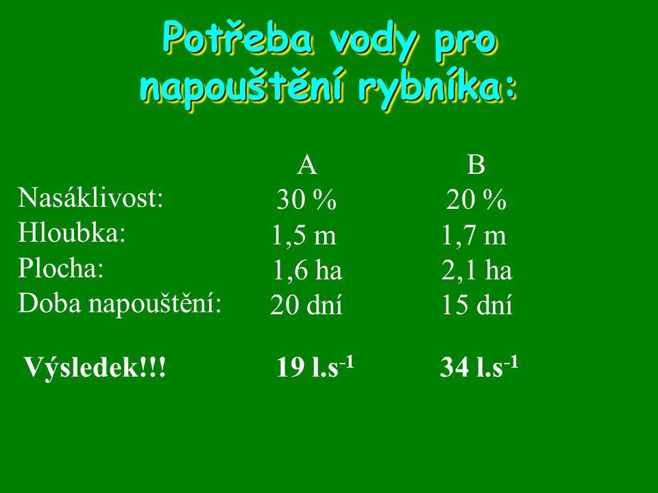 Potřeba vody pro napouštění rybníka: Nasáklivost: Hloubka: Plocha: Doba napouštění: A 30 % 1,5 m 1,6 ha 20 dní B 20 % 1,7 m 2,1 ha 15 dní Výsledek!!!1
