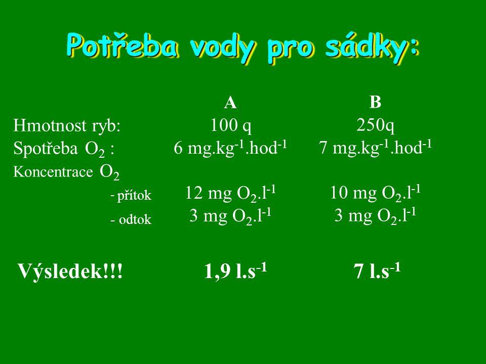 Potřeba vody pro sádky: Hmotnost ryb: Spotřeba O 2 : Koncentrace O 2 - přítok - odtok A 100 q 6 mg.kg -1.hod -1 12 mg O 2.l -1 3 mg O 2.l -1 Výsledek!