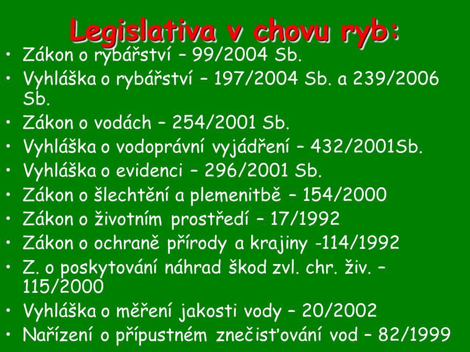 Legislativa v chovu ryb: •Zákon o rybářství – 99/2004 Sb. •Vyhláška o rybářství – 197/2004 Sb. a 239/2006 Sb. •Zákon o vodách – 254/2001 Sb. •Vyhláška