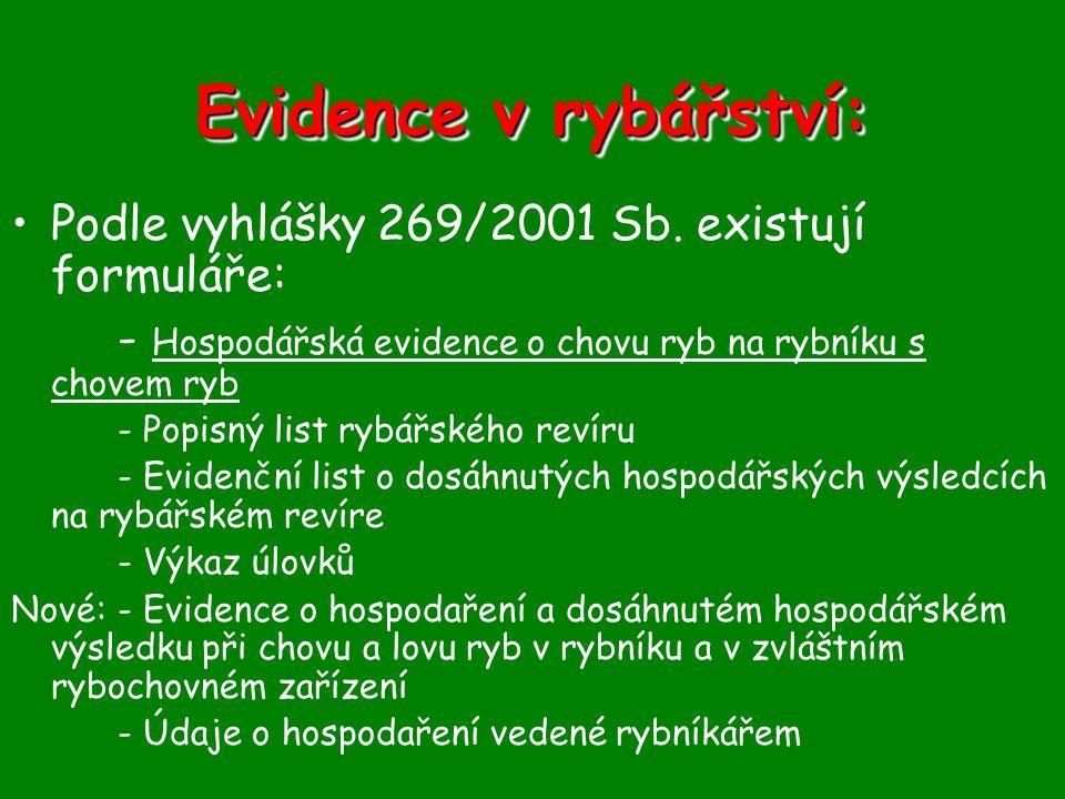 Evidence v rybářství: •Podle vyhlášky 269/2001 Sb. existují formuláře: - Hospodářská evidence o chovu ryb na rybníku s chovem ryb - Popisný list rybář