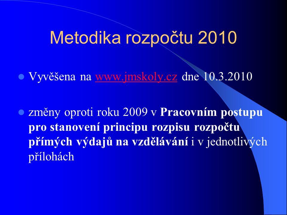 Metodika rozpočtu 2010  Vyvěšena na www.jmskoly.cz dne 10.3.2010www.jmskoly.cz  změny oproti roku 2009 v Pracovním postupu pro stanovení principu ro