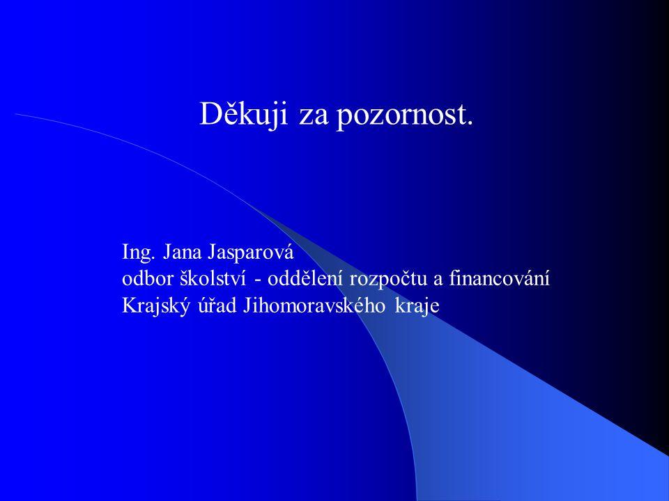 Děkuji za pozornost. Ing. Jana Jasparová odbor školství - oddělení rozpočtu a financování Krajský úřad Jihomoravského kraje