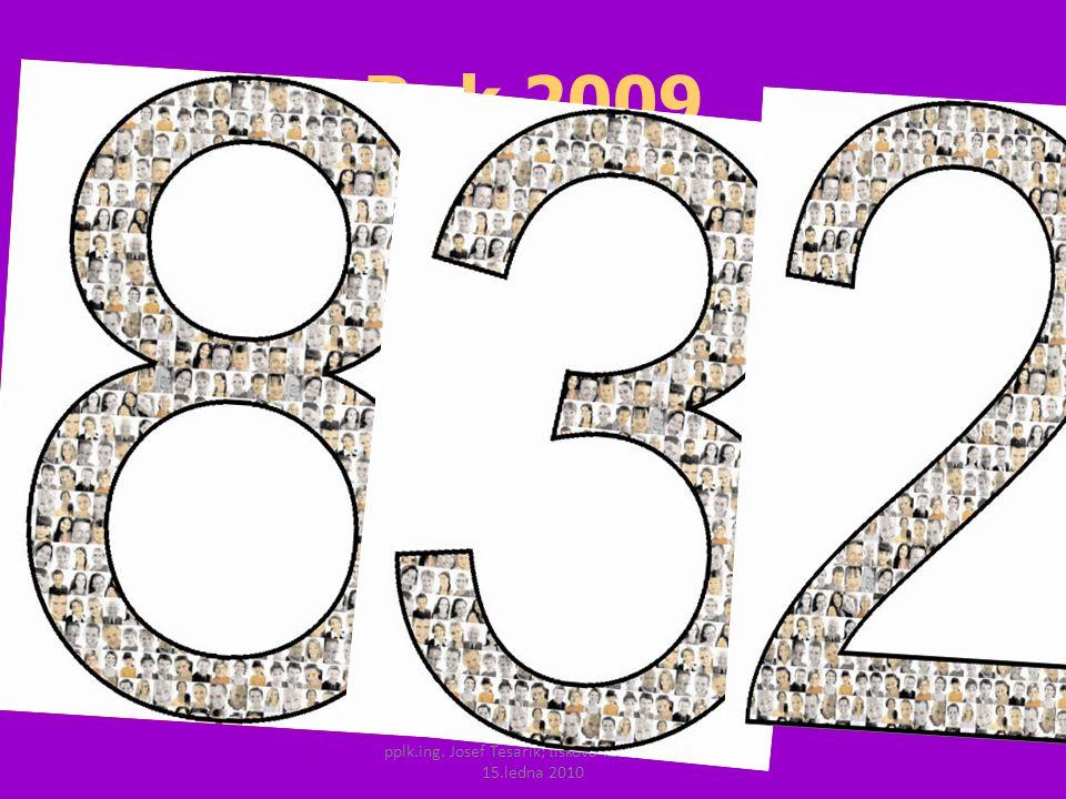 pplk.ing. Josef Tesařík; tisková konference 15.ledna 2010 Rok 2009 celkem nehod 74 815 usmrceno 832 osob, těžce zraněno 3 536 osob, lehce zraněno 23 7