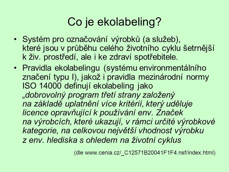 Co je ekolabeling? •Systém pro označování výrobků (a služeb), které jsou v průběhu celého životního cyklu šetrnější k živ. prostředí, ale i ke zdraví