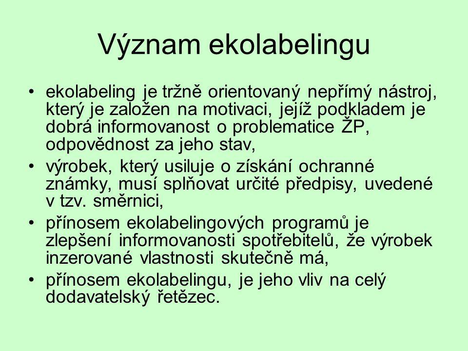 Význam ekolabelingu •ekolabeling je tržně orientovaný nepřímý nástroj, který je založen na motivaci, jejíž podkladem je dobrá informovanost o problema