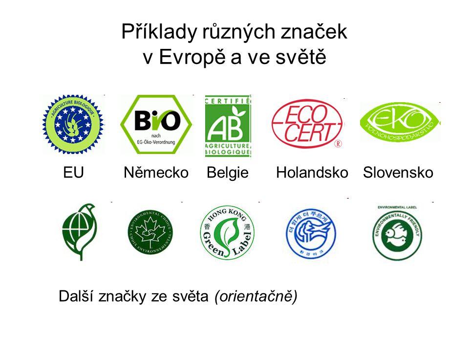 Příklady různých značek v Evropě a ve světě EU Německo Belgie Holandsko Slovensko Další značky ze světa (orientačně)