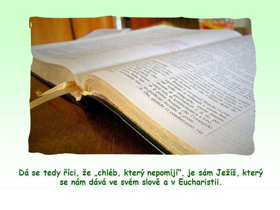 """Když pak čteme další Ježíšova slova, vidíme, že tento """"chléb, který nepomíjí , je také totožný s Ježíšovým eucharistickým tělem."""