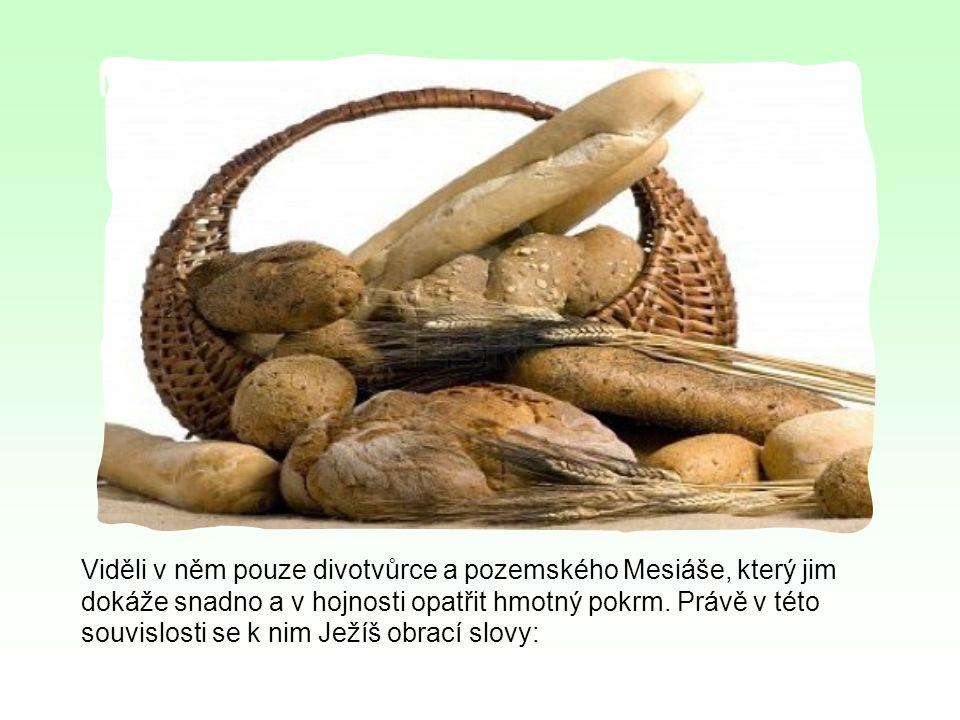 Pojedli ze zázračně rozmnoženého chleba, ale zastavili se pouze u hmotné stránky.