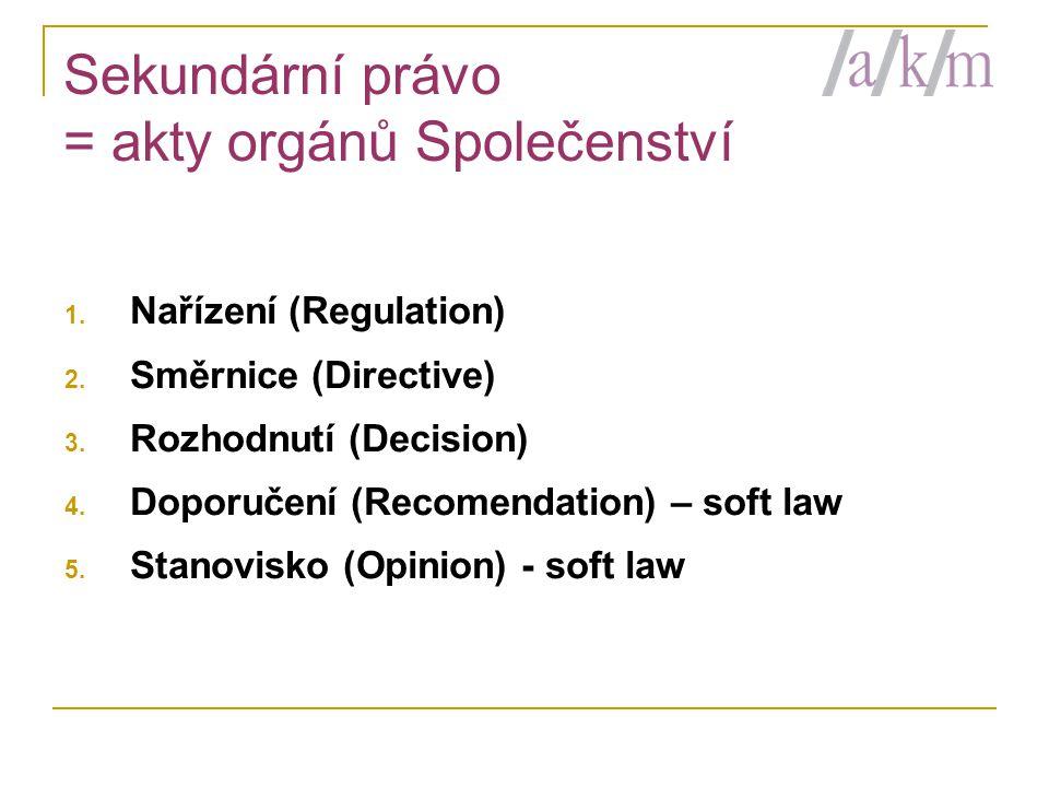 Sekundární právo = akty orgánů Společenství 1. Nařízení (Regulation) 2. Směrnice (Directive) 3. Rozhodnutí (Decision) 4. Doporučení (Recomendation) –