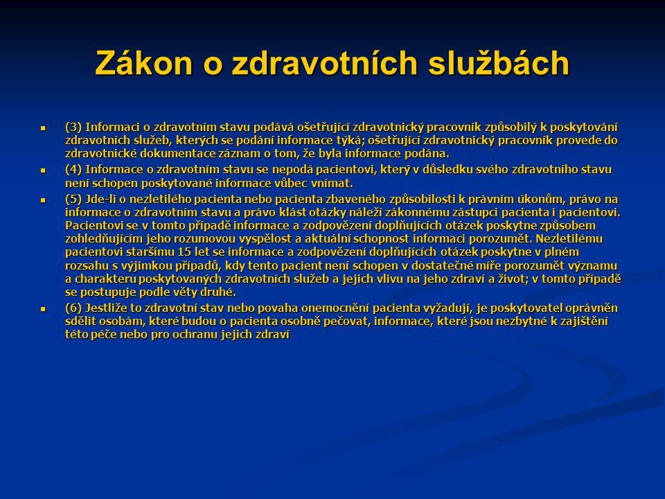 Zákon o zdravotních službách § 32  (1) Pacient se může vzdát podání informace o svém zdravotním stavu, popřípadě může určit, které osobě má být podána.