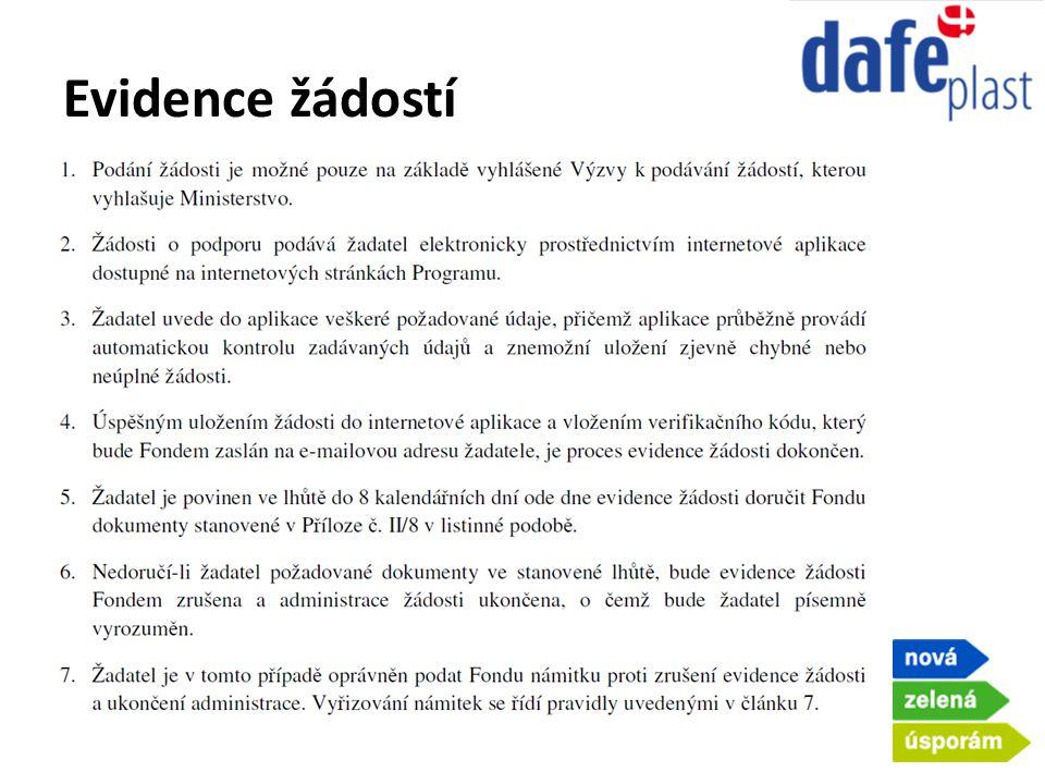 Evidence žádostí