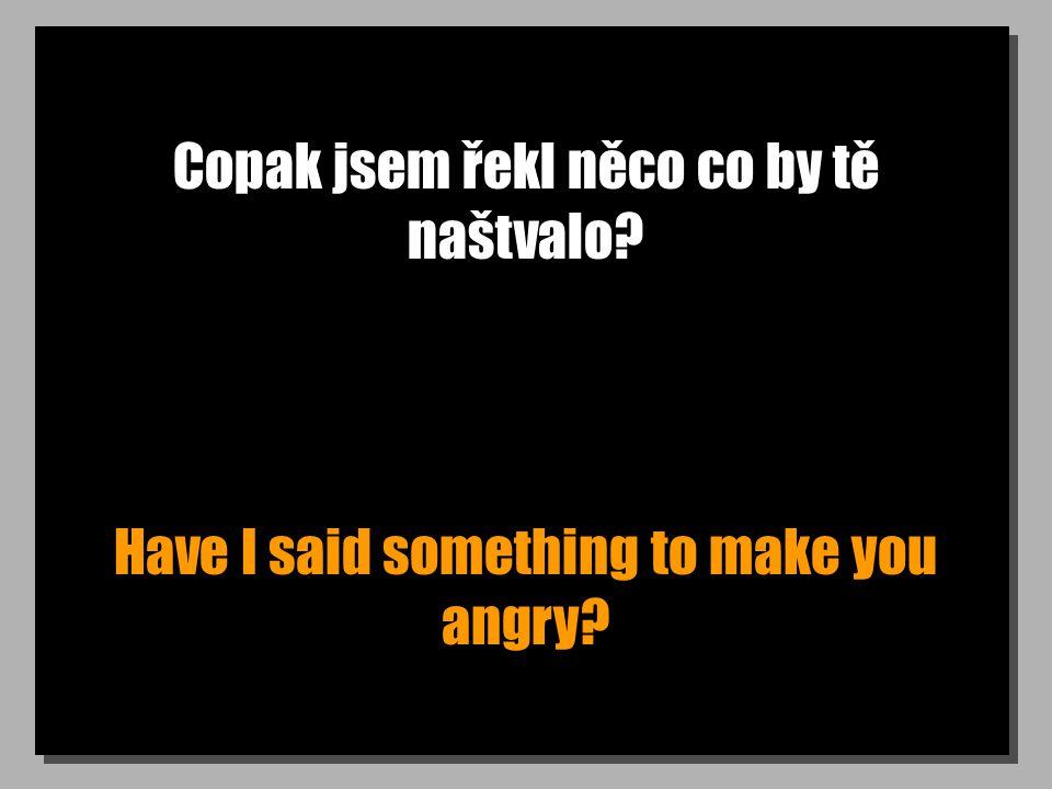 Copak jsem řekl něco co by tě naštvalo? Have I said something to make you angry?