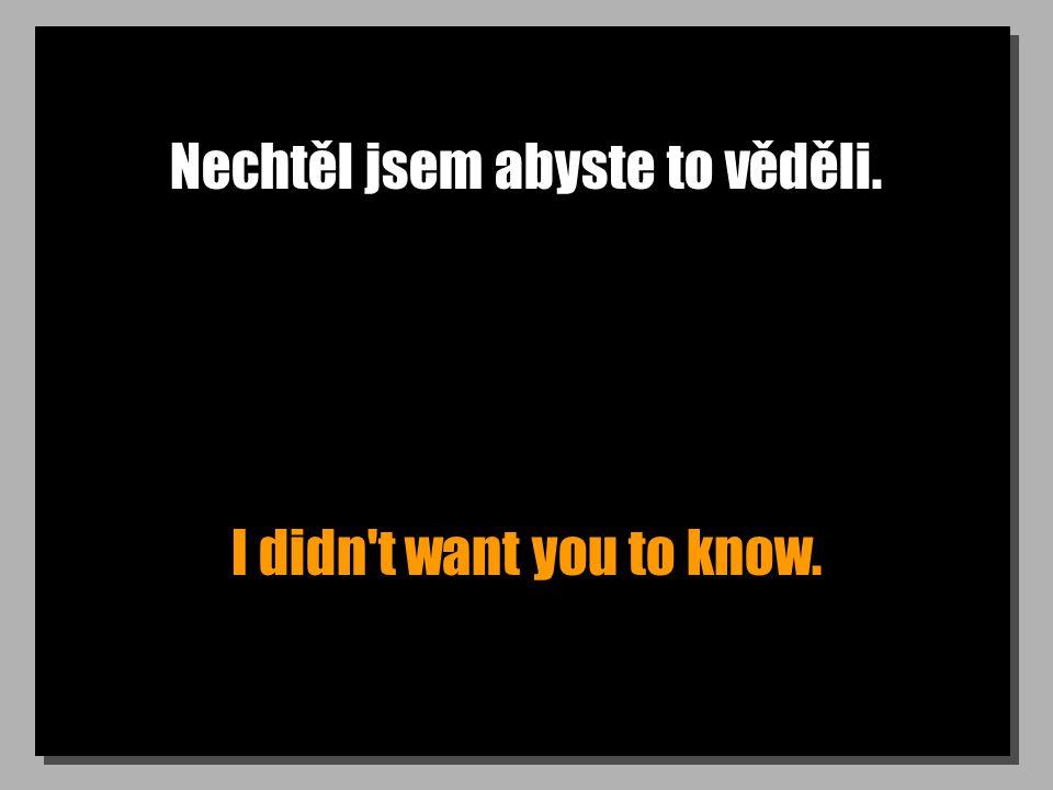 Nechtěl jsem abyste to věděli. I didn't want you to know.