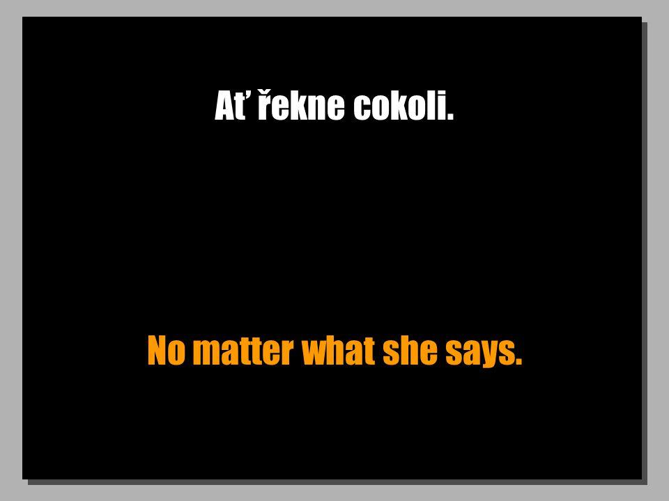 Ať řekne cokoli. No matter what she says.