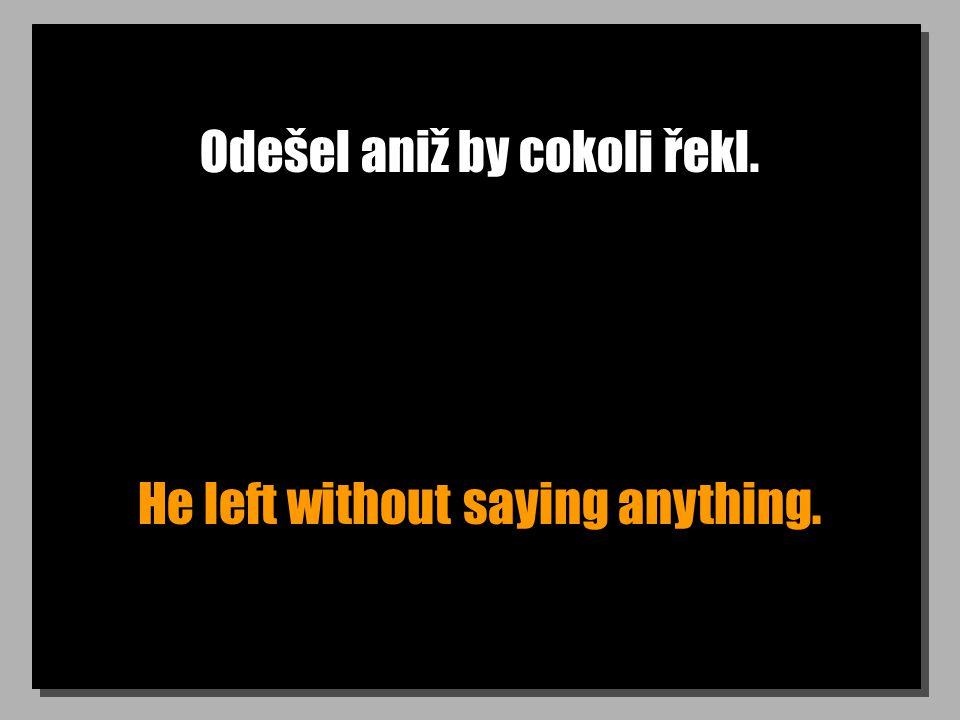 Odešel aniž by cokoli řekl. He left without saying anything.