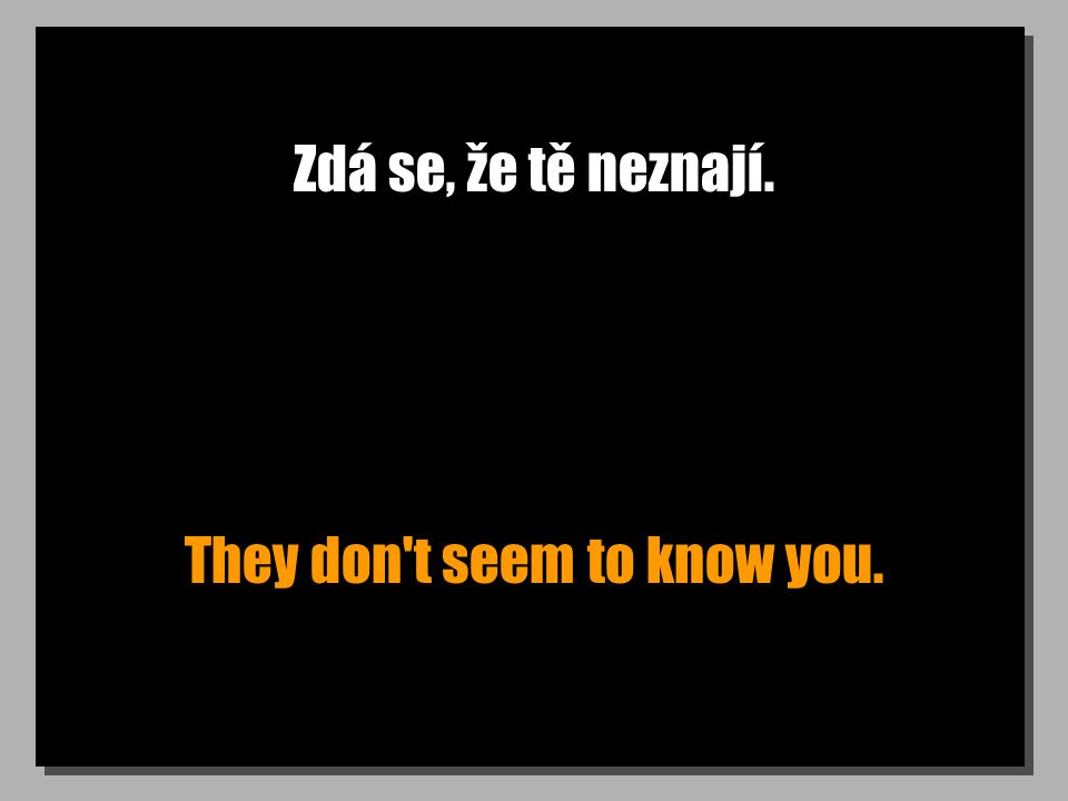 Zdá se, že tě neznají. They don t seem to know you.