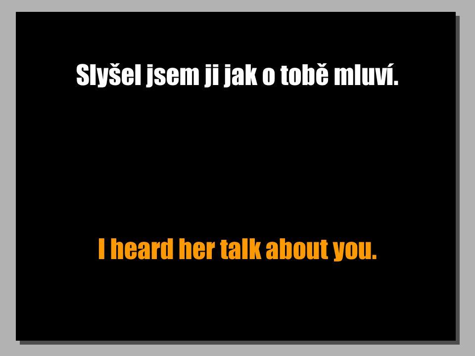 Slyšel jsem ji jak o tobě mluví. I heard her talk about you.