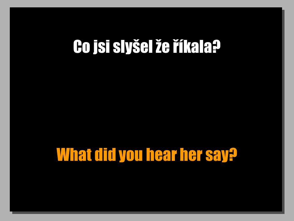 Co jsi slyšel že říkala What did you hear her say