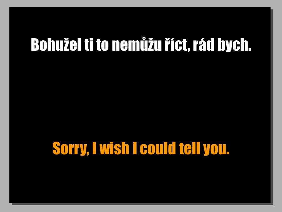 Bohužel ti to nemůžu říct, rád bych. Sorry, I wish I could tell you.