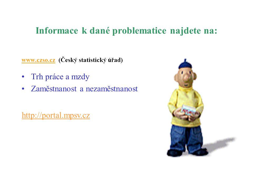 Informace k dané problematice najdete na: www.czso.cz (Český statistický úřad) •Trh práce a mzdy •Zaměstnanost a nezaměstnanost http://portal.mpsv.cz
