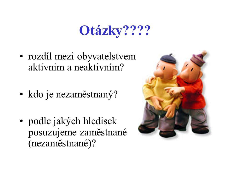 Otázky???? •rozdíl mezi obyvatelstvem aktivním a neaktivním? •kdo je nezaměstnaný? •podle jakých hledisek posuzujeme zaměstnané (nezaměstnané)?
