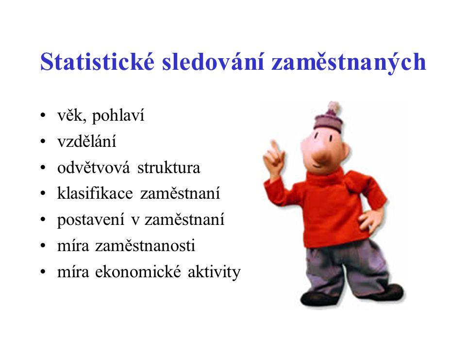 Statistické sledování zaměstnaných •věk, pohlaví •vzdělání •odvětvová struktura •klasifikace zaměstnaní •postavení v zaměstnaní •míra zaměstnanosti •m