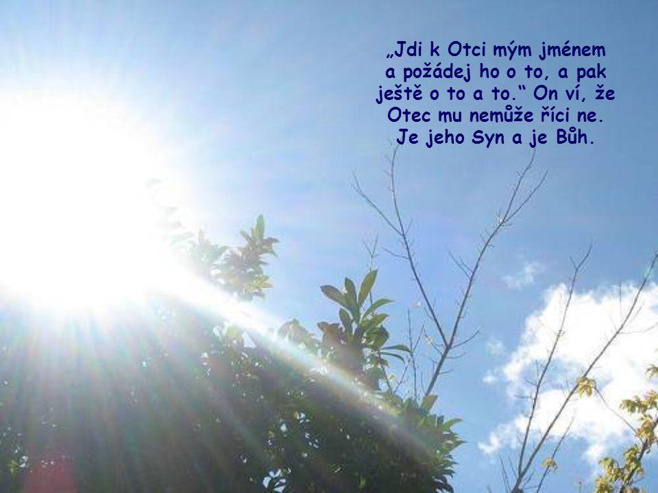Podívej, Ježíš, který žil zde mezi námi, zná nekonečné potřeby, které máme a které máš i ty, a má o nás starost. A tak pokud jde o modlitbu, sám se do