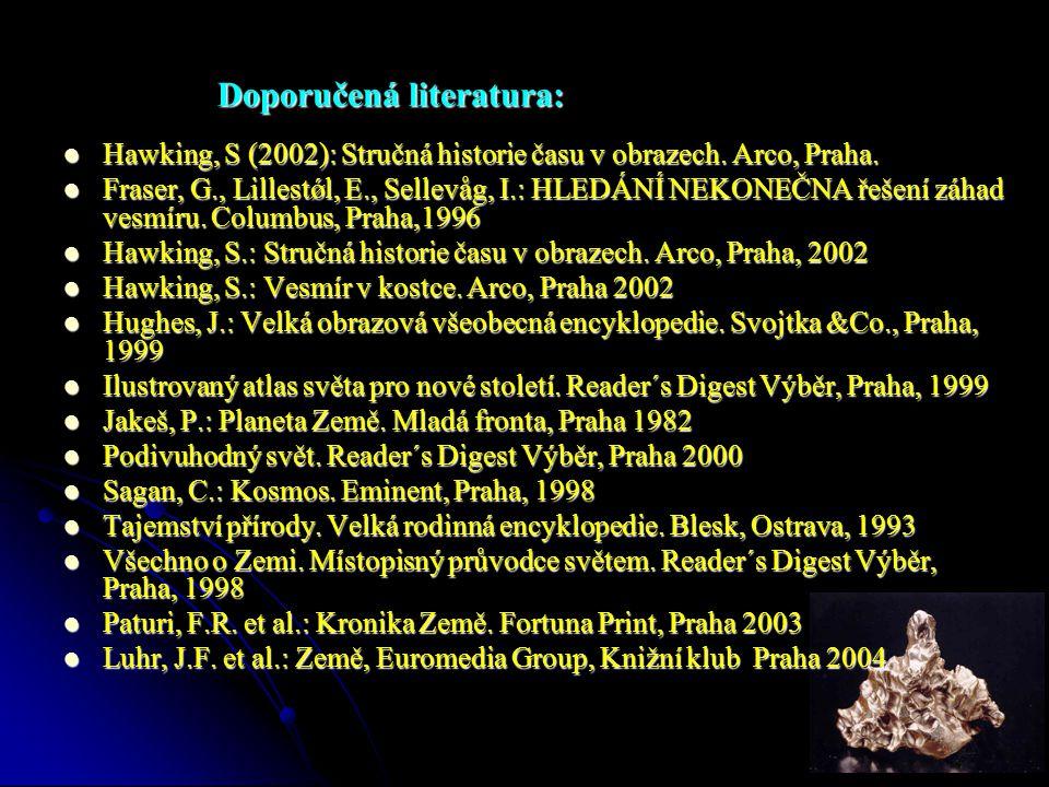 Doporučená literatura:  Hawking, S (2002): Stručná historie času v obrazech. Arco, Praha.  Fraser, G., Lillestǿl, E., Sellevåg, I.: HLEDÁNÍ NEKONEČN