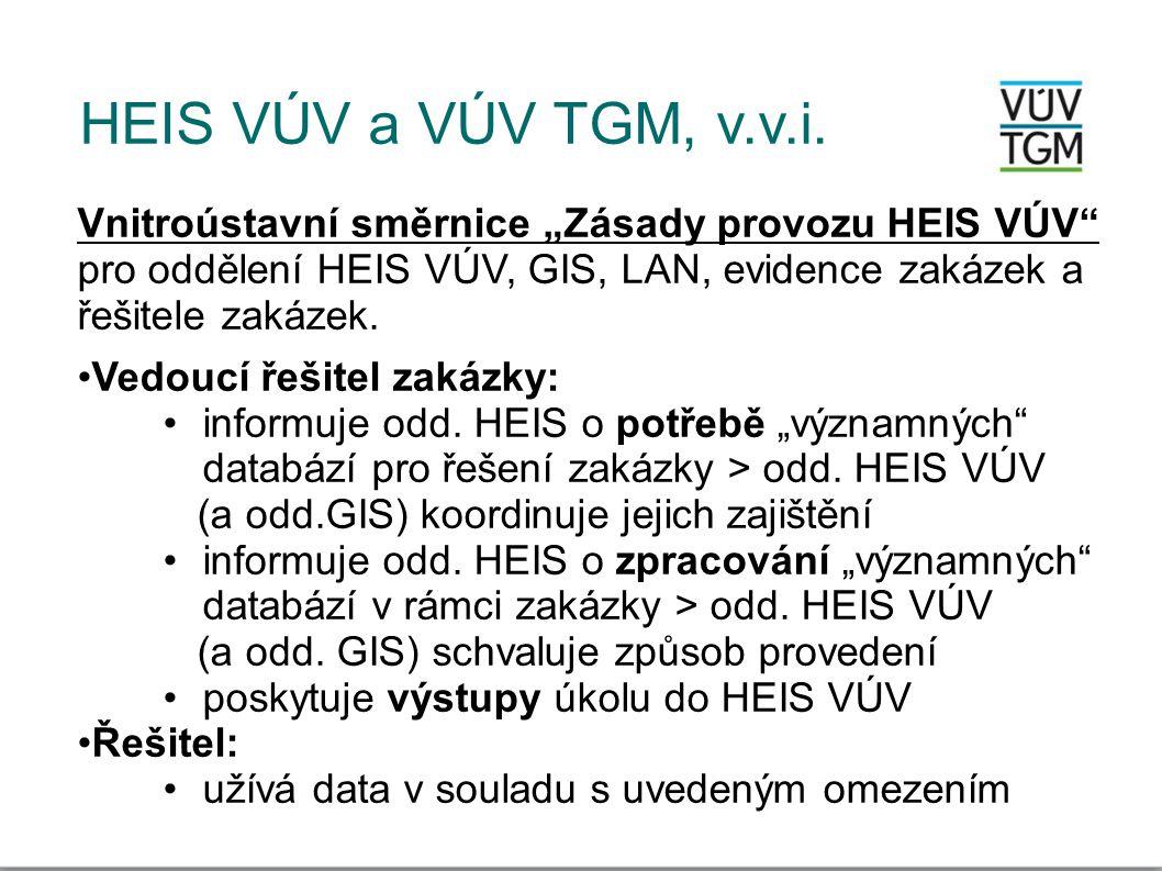 """HEIS VÚV a VÚV TGM, v.v.i. Vnitroústavní směrnice """"Zásady provozu HEIS VÚV"""" pro oddělení HEIS VÚV, GIS, LAN, evidence zakázek a řešitele zakázek. •Ved"""