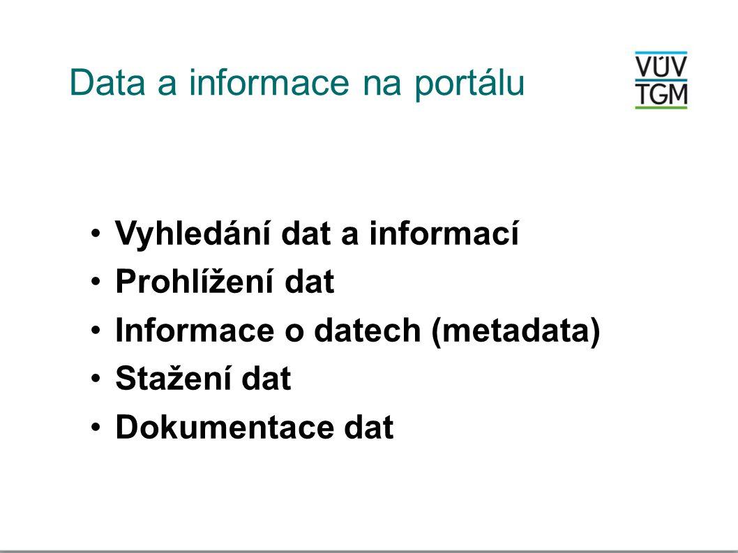Data a informace na portálu •Vyhledání dat a informací •Prohlížení dat •Informace o datech (metadata) •Stažení dat •Dokumentace dat