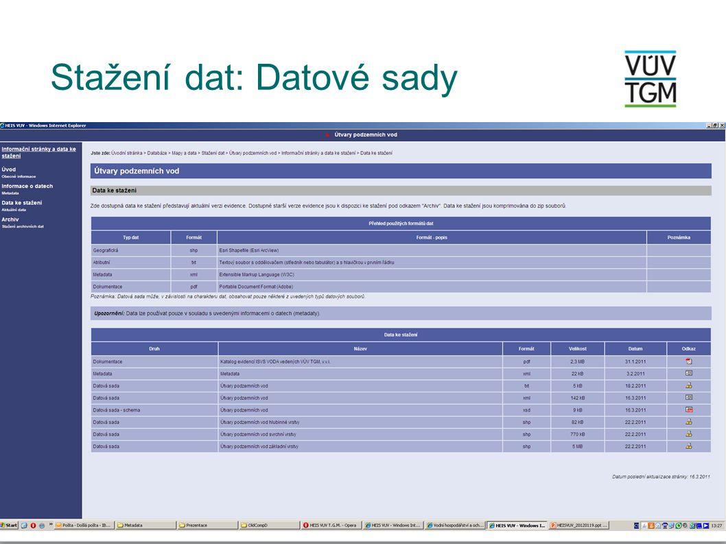 Stažení dat: Datové sady