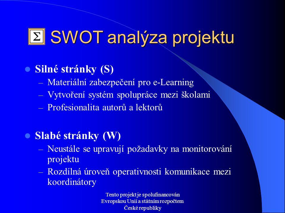 Tento projekt je spolufinancován Evropskou Unií a státním rozpočtem České republiky SWOT analýza projektu  Silné stránky (S) – Materiální zabezpečení pro e-Learning – Vytvoření systém spolupráce mezi školami – Profesionalita autorů a lektorů  Slabé stránky (W) – Neustále se upravují požadavky na monitorování projektu – Rozdílná úroveň operativnosti komunikace mezi koordinátory