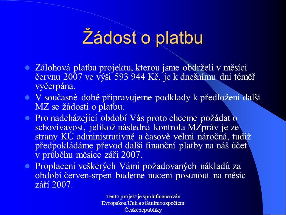 Tento projekt je spolufinancován Evropskou Unií a státním rozpočtem České republiky Žádost o platbu  Zálohová platba projektu, kterou jsme obdrželi v měsíci červnu 2007 ve výši 593 944 Kč, je k dnešnímu dni téměř vyčerpána.