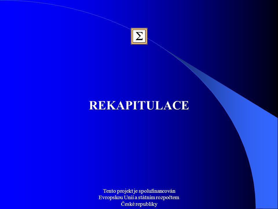 Tento projekt je spolufinancován Evropskou Unií a státním rozpočtem České republiky REKAPITULACE