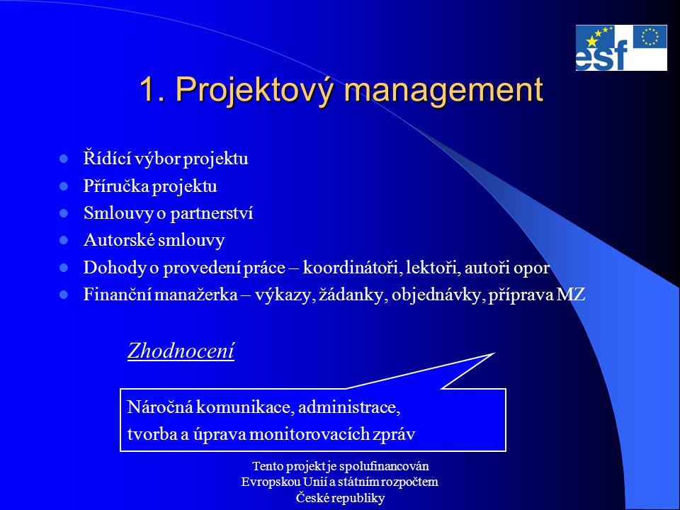 Tento projekt je spolufinancován Evropskou Unií a státním rozpočtem České republiky 1. Projektový management  Řídící výbor projektu  Příručka projek