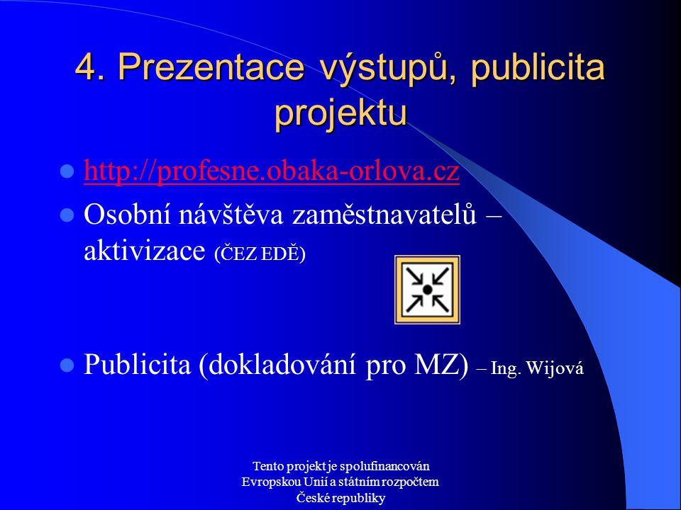 Tento projekt je spolufinancován Evropskou Unií a státním rozpočtem České republiky 4. Prezentace výstupů, publicita projektu  http://profesne.obaka-