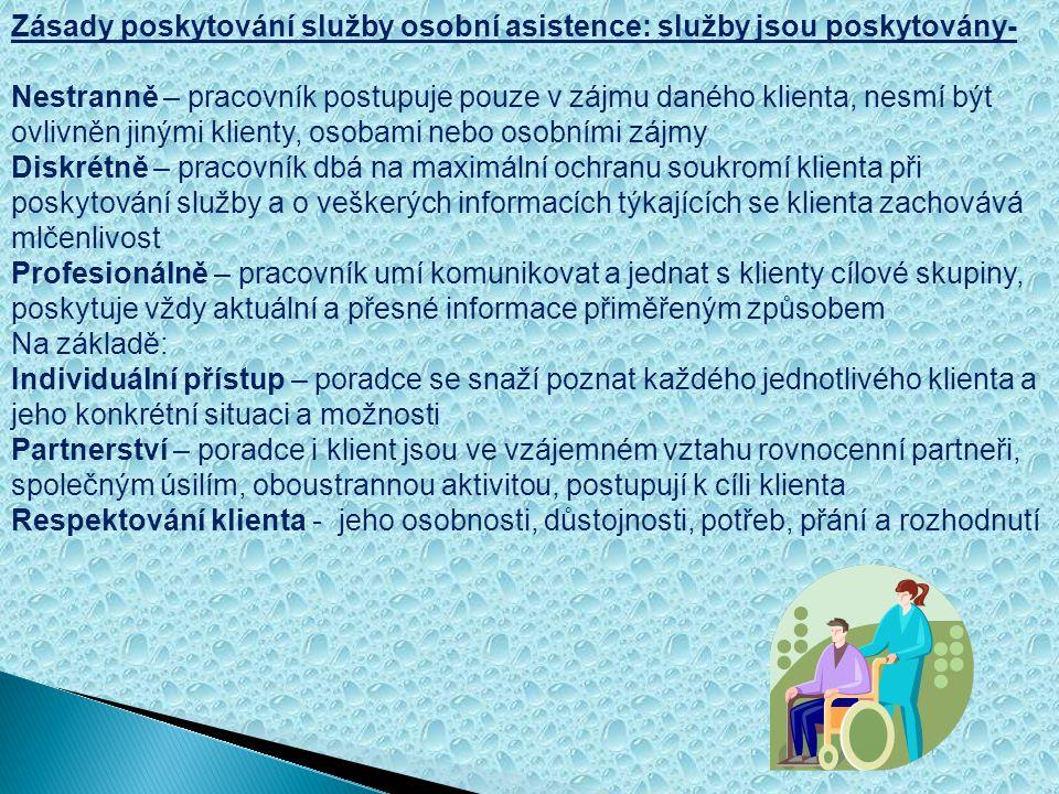 Poslání, cíle, cílová skupina, kapacita služby a zásady poskytování osobní asistence Poslání služby osobní asistence: Posláním osobní asistence poskyt